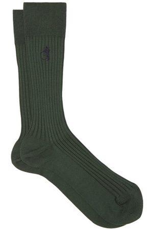 London Sock Company British Racing Ribbed Cotton-blend Socks - Mens - Dark