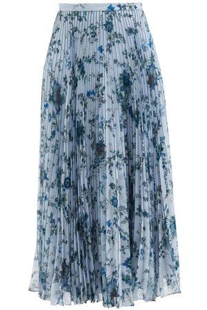 Erdem Nesrine Pleated Hogarth-print Voile Midi Skirt - Womens