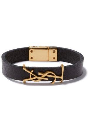 Saint Laurent Women Bracelets - Ysl-plaque Leather Bracelet - Womens