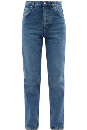 Loewe Leather-pocket High-rise Straight-leg Jeans - Womens - Denim