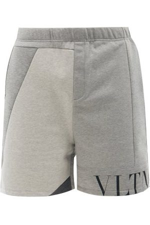 VALENTINO Vltn-logo Patchwork Jersey Shorts - Mens - Grey