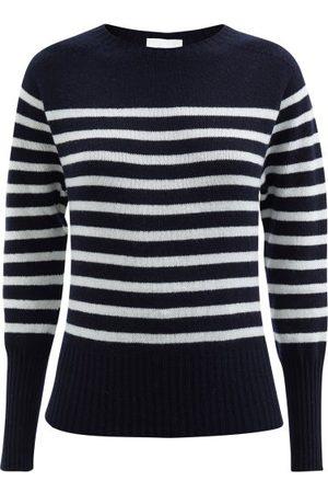 Erdem Lotus Striped Cashmere Sweater - Womens - Navy