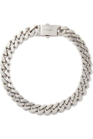 Saint Laurent Logo-engraved Curb-chain Necklace - Womens