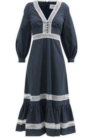 Erdem Magdalene Lace-trim Cotton-poplin Dress - Womens - Navy