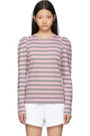 Ganni Pink & Grey Striped Long Sleeve T-Shirt