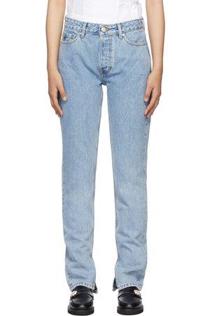 Ganni Blue Mid-Rise Slim Jeans