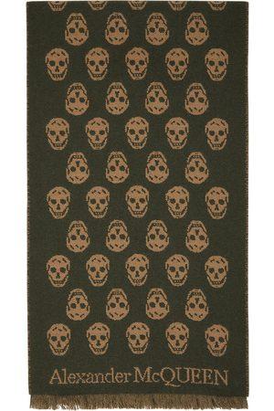 Alexander McQueen Reversible Green & Brown Skull Scarf