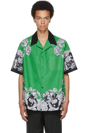 VALENTINO Green & Black Dark Blooming Short Sleeve Shirt