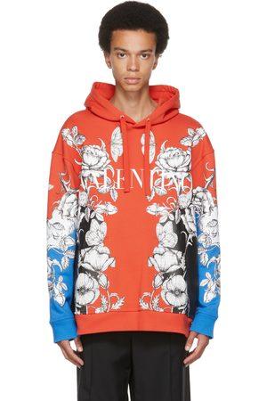 VALENTINO Men Hoodies - Orange & Blue Dark Blooming Logo Hoodie