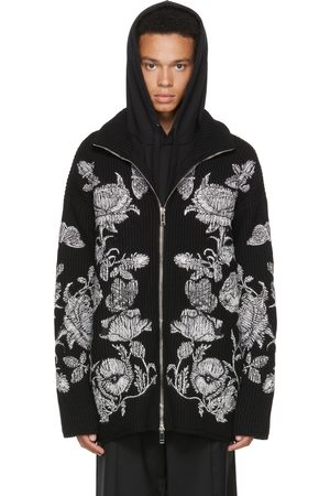 VALENTINO Black Knit Dark Blooming Zip-Up Sweater