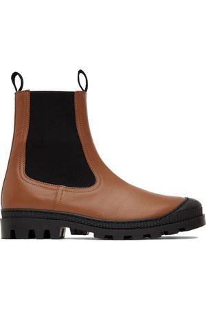Loewe Men Chelsea Boots - Tan Leather Chelsea Boots