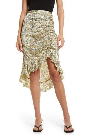 VERO MODA Women's Ruched Asymmetric Satin Skirt