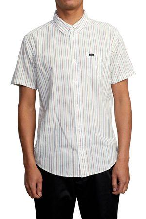 RVCA Men's Cassidy Stripe Short Sleeve Button-Down Shirt