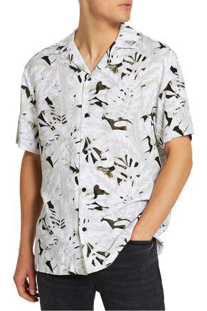 River Island Men's Revere Leaf Print Short Sleeve Button-Up Shirt
