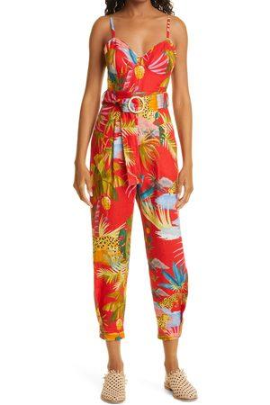 Farm Rio Women's Tropical Jungle Belted Linen Jumpsuit