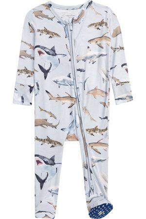 Posh Peanut Infant Boy's Maverick Shark Print Fitted One-Piece Pajamas