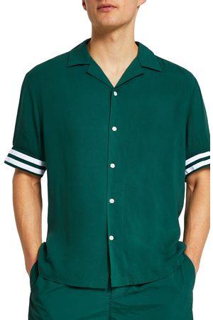 River Island Men's Revere Tipped Resort Short Sleeve Button-Up Shirt