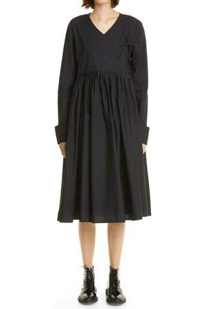 MERLETTE Women's Collier Pleat Long Sleeve Wrap Dress