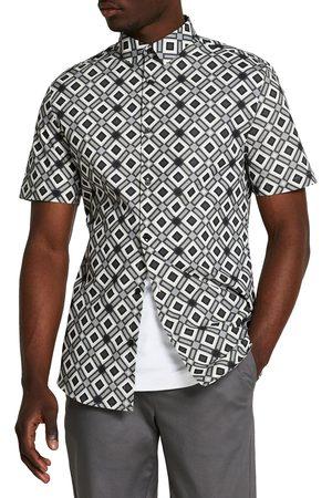 River Island Men's Geometric Short Sleeve Button-Up Shirt