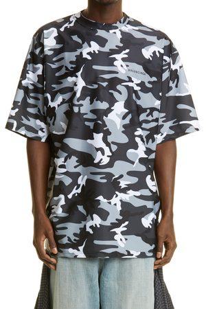Balenciaga Men's Camo Print Logo Swim Shirt