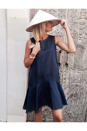 LJC Designs Navy Sleeveless Linen Dress