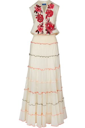Bleue Resort Floral Sleeveless Embroidered Dress