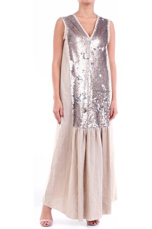 ALYSI Long beige and bronze dress with sequins and sleeveless