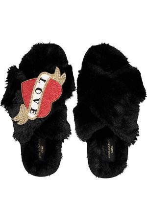 Laines London Womens Laines Of London Luxe Red Heart Slippers