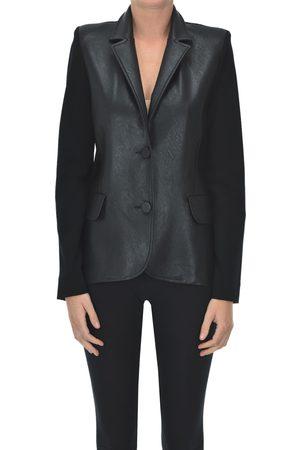 D.Exterior Eco-leather insert blazer