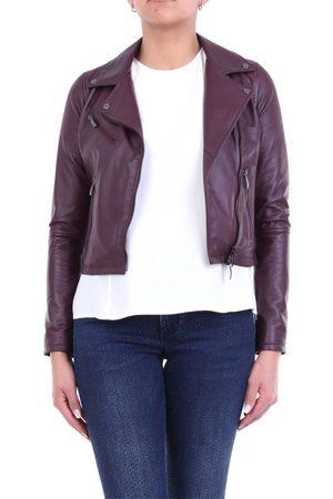 Emanuele Curci Plum-colored nail-style leather jacket