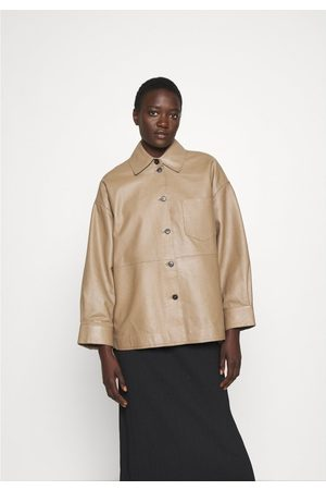 Weekend by Max Mara Weekend by MaxMara Nicola Leather Oversized Jacket 6, Colour: Br