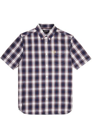 Fred Perry Authentic Button Down Short Sleeve Check Shirt French Navy