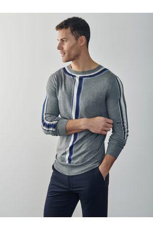 MrQuintessential Joey Intarsia Detail Crew Neck Sweater - Grey