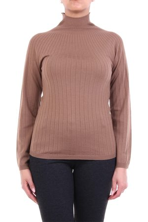 Peserico Biscuit-colored turtleneck with ribbed texture
