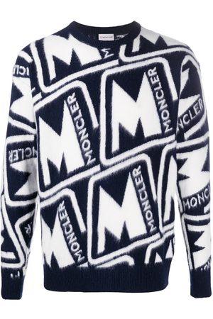 Moncler Knitted Logo Sweatshirt Navy