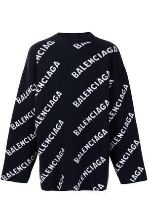Balenciaga Intarsia Knit Sweatshirt Navy