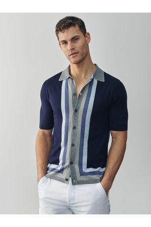 MrQuintessential Sammy Silk Blend Navy Stripe Detail Polo Shirt