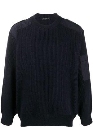 Balenciaga Men Sweatshirts - Logo knitted sweatshirt navy