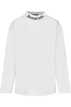 Balenciaga Men Long Sleeve - Neck Logo Long Sleeve T-Shirt