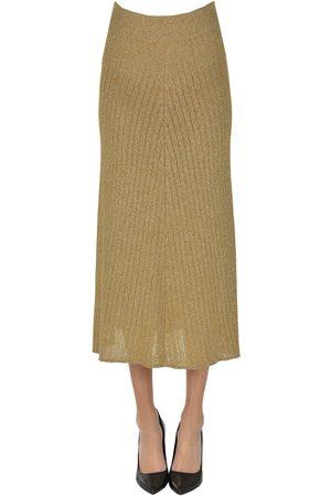 Msgm Ribbed lurex knit midi skirt