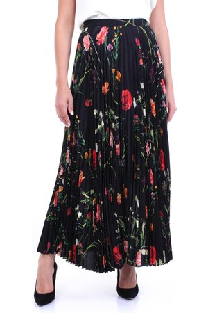 VALENTINO Long skirt in black with floral and pleated pattern