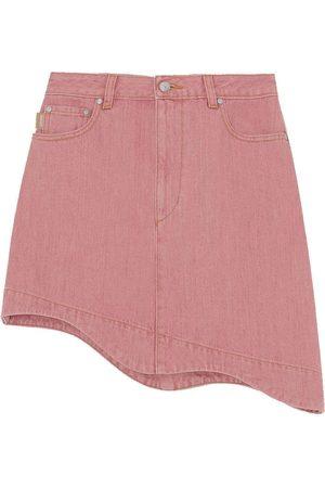 Ganni Denim High-Waisted Asymmetrical Mini Skirt