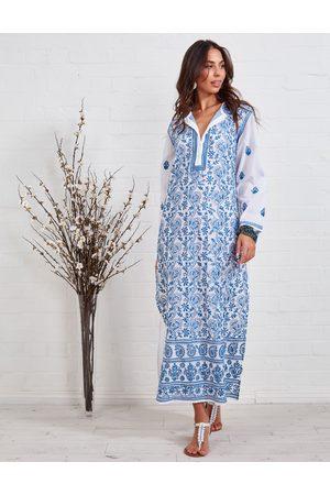 Bleue Resort Cotton Embroidered Maxi Kaftan
