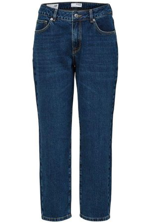 SELECTED Flyda Mid Waist Cropped Inky Jeans