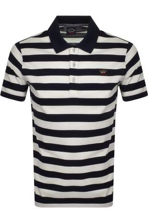 Paul & Shark Men Polo Shirts - Paul And Shark Striped Polo T Shirt Navy
