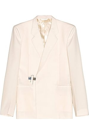 Givenchy Men Blazers - Woven Padlock Dry Wool Jacket in Ivory