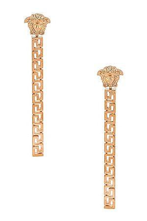 VERSACE Medusa Greca Dangle Earrings in Metallic Gold