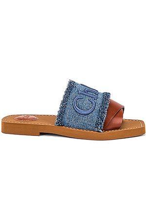 Chloe Woody Slides in Blue