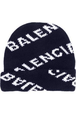 Balenciaga Knitted Logo Beanie Navy