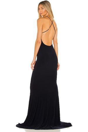 Norma Kamali X REVOLVE Low Back Slip Mermaid Fishtail Gown in Navy.